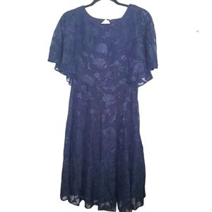J. Taylor Cape Fit and Flare Lace Overlay Dress